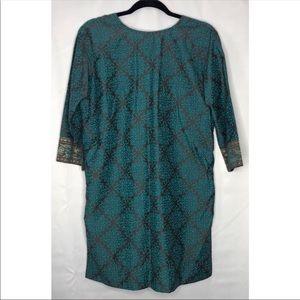 Tops - EUC like new aqua & gold patterned tunic blouse